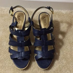 NWOT Chaps blue Dallyn leather wedge Sz 10